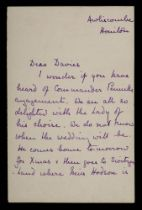 A manuscript letter from Harry Pennell's mother Winifred, to Frank Davies: from Awliscombe,