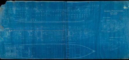 A large blue print for the 'General Arrangement 'Terra Nova':, Scale ¼=1 Foot',