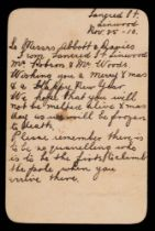 A handwritten note on card to RYS Terra Nova crew members George Abbot and Frank Davies dated 'Nov