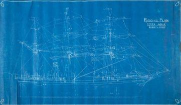 A blue print for the 'Rigging Arrangement 'Terra Nova',: Scale 1/8=1 Foot',