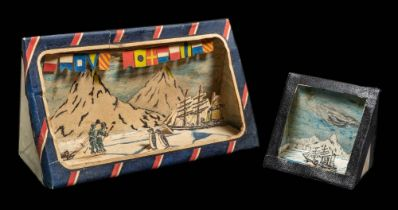 Two handmade Antarctic pen, ink and card dioramas constructed by F E Davies:,