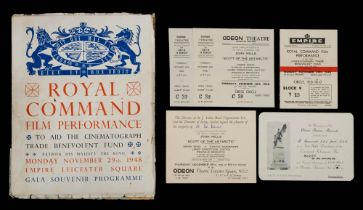 A Royal Command Performance Souvenir programme and ticket for 'Scott of the Antarctic' (John Mills)