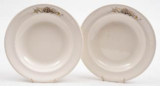 Two Orient Line ironstone soup bowls by Ashworth Brothers: with transfer shell decoration to rim,