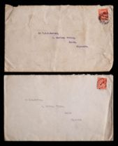 Two British Antarctic Expedition envelopes to Frank Davies dated August 1913 to the Saltram Villas