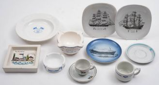 A collection of foreign ocean liner tablewares: including two Johnson Line (Sweden) soup bowls,