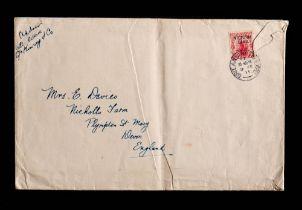 A British Antarctic Expedition envelope to Mr F Davies Nicholls Farm address: with 'Brit Antarctic