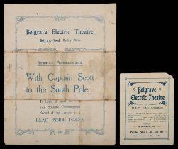 Two theatre programmes for the Belgrave Electric Theatre, Belgrave Road,