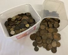 2 tubs of vintage mostly British coins, to include Victorian pennies and half pennies.