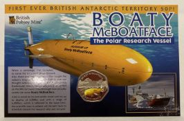 2018 Limited Edition carded and sealed Boaty McBoatface coloured 50p coin.