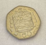 A dual date 1992-1993 EEC collectable 50p coin.