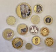 12 gold plated collectors coins together with a 1989 Tercentenary Of The Bill Of Rights £2 coin.