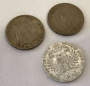 3 antique and vintage silver coins. A 1935 George V silver jubilee crown.