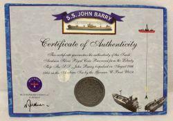 A Saudi Arabian silver royal collectors coin from the Liberty ship S.S. John Barry.