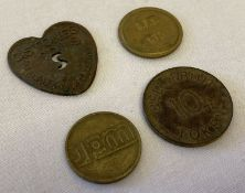 4 vintage tokens. To include heart shaped C. Stones & sons Covent Garden.