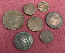 A collection of antique bronze coins in varying conditions. To include William III Bawbee/sixpence.
