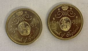2 1994 300th Anniversary of the Bank Of England £2 coins.