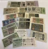 A collection of 22 antique and vintage German bank notes.