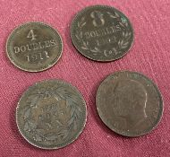 2 late 19th century Portuguese XX Reis coins together with 2 Guernsey Doubles.