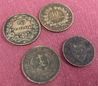 4 late 19th century coins. An 1897 French 10 centimes coin.