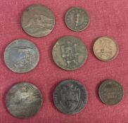 A small collection of 18th and 19th Century token coins and half pennies.