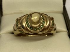 A 9ct gold citrine and tsavorite set dress ring, by Gems TV.