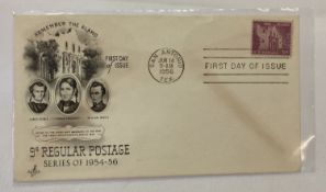 "An American 1956 ""Remember The Alamo"" first day cover from the 1954-56 9c regular postage series."