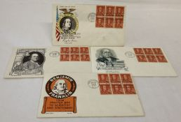 4 x Benjamin Franklin American fist day covers from 1955. Varying designs.
