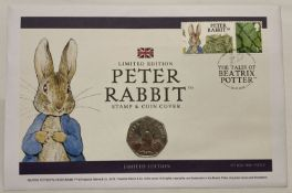 A Limited Edition 2016 Peter Rabbit stamp and coin cover.