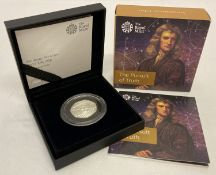 A boxed Ltd Edition Royal Mint 2017 Sir Isaac Newton; The Pursuit of Truth, silver proof 50p coin.