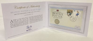 A Westminster Collection Limited Edition 2017 Beatrix Potter, Peter Rabbit stamp & coin cover.