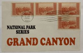 "An overprinted American ""National Park Series"" Grand Canyon first day cover. Postmark 1934."
