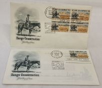 "2 x Salt Lake City post marked American first day covers from the ""Range Conservation"" series."