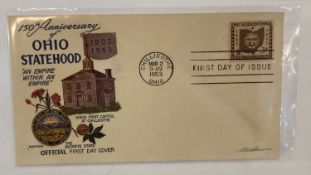 "A 1953 American first day cover ""150th Anniversary of Ohio Statehood 1803-1953""."