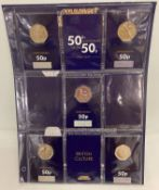 50 years of the 50p 1969 - 2019, 5 coin set from Change Checker, containing 5 carded coins.