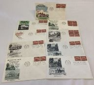 9 x American first day covers depicting Mount Vernon. All dated 1956.