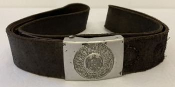 A WWII style German 3rd Reich Heer (army) parade leather belt and buckle.