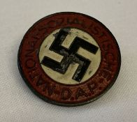 A German WWII style ersatz (economy issue) N.S.D.A.P. pin back badge.