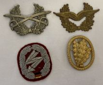 3 modern BRD German military beret/hat badges together with a cloth badge.