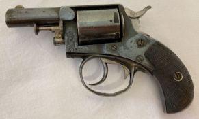 An antique 1898 Webley No. 2 centrefire .320 revolver with wooden grip.