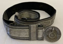 A reproduction German SS officers silver brocade belt and circular buckle.