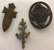 3 WWII style German Rally pin back badges.