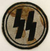 A German WWII style late war ersatz SS circular embroidered PT vest patch.