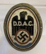 A German WWII style D.D.A.C (Automobile Club) car badge/plaque.