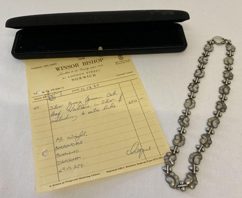 """A vintage Georg Jensen silver 16"""" necklace with leaf link design, #96. - Image 5 of 7"""
