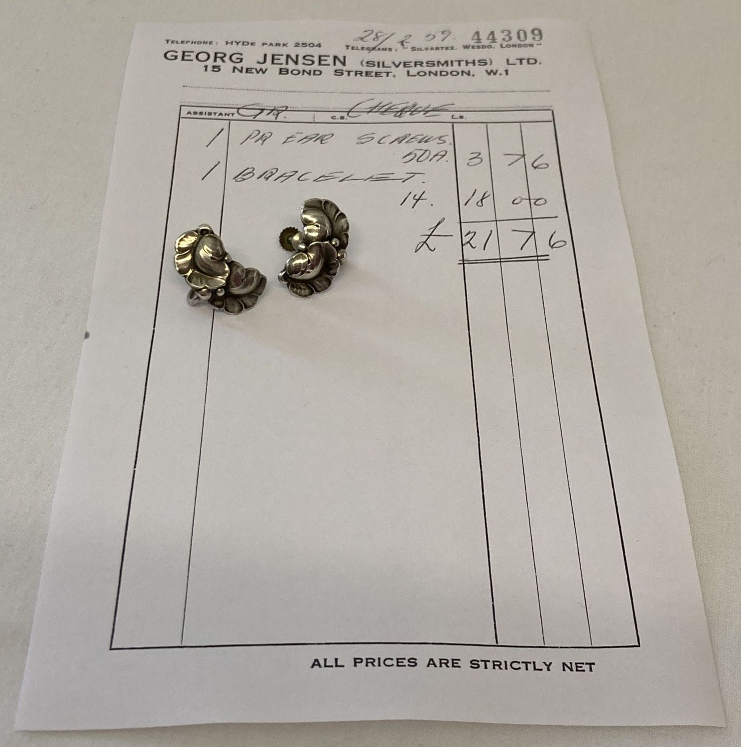 A pair of vintage Georg Jensen silver screw back earrings #50A, with leaf design. - Image 4 of 6