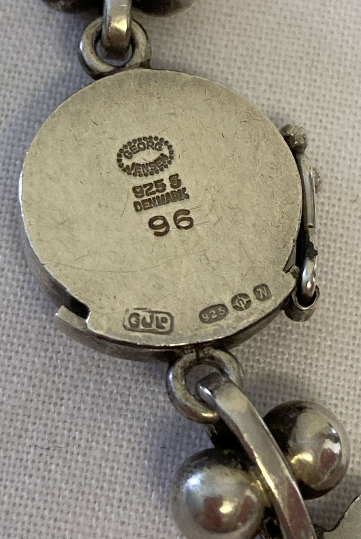 """A vintage Georg Jensen silver 16"""" necklace with leaf link design, #96. - Image 7 of 7"""