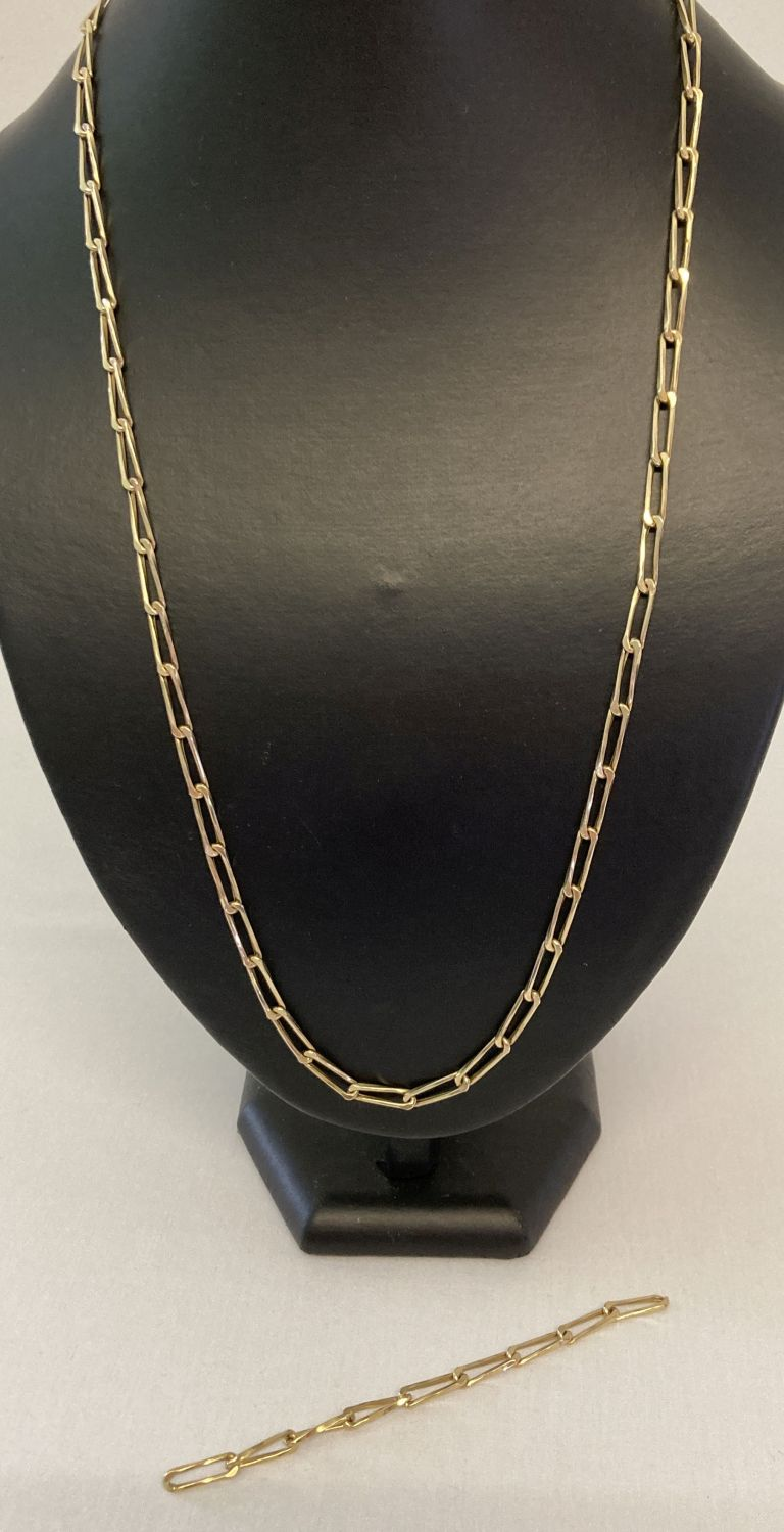 """A vintage 26"""" large link gold chain, tests as 9ct gold."""