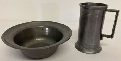 2 items of Danish pewter; a small tankard together with a wide rimmed bowl.