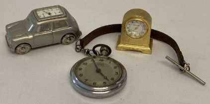 2 miniature novelty clocks, a Mini car by Royale and a mantle clock by Park Lane.