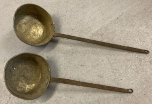 2 vintage brass long handled pans.